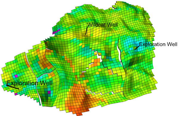 Base model : Permeability map (layer 1) including history wells locations (t1)