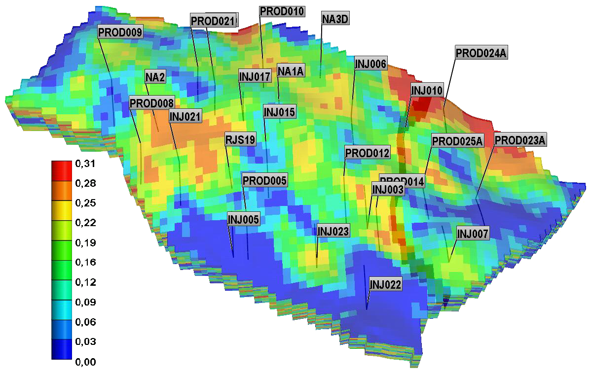 Namorado field: Porosity Map 3D including wells perforations